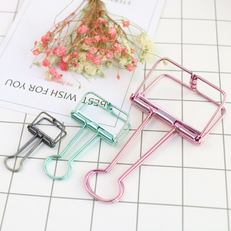 TUTU Novelty Solid Color Hollow Out Metal Binder Clips Notes Letter Paper Clip Office Supplies FOD H0047