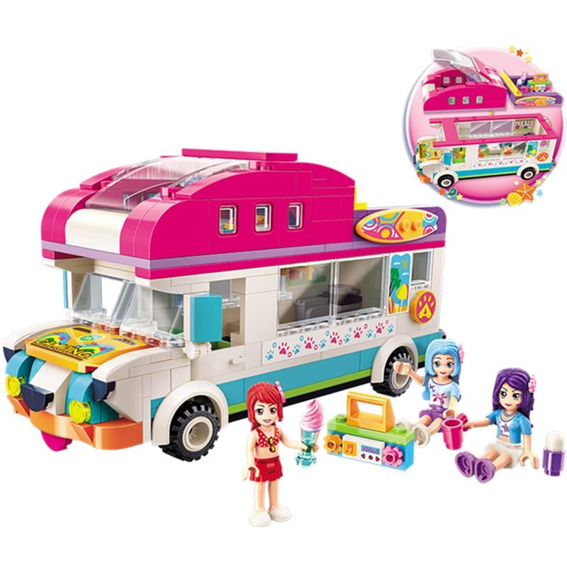ENLIGHTEN Girls Seaside Dog Camping Recreational Vehicle Ice Cream Beach Car Radio Building Blocks Sets Bricks Legoings Friends