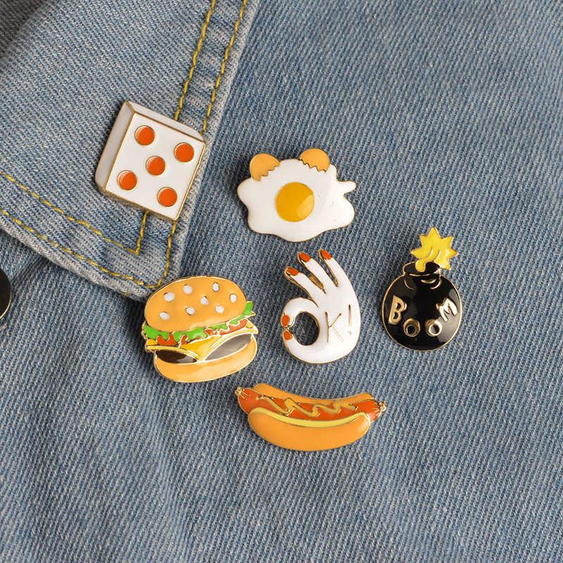 Pizza hamburguesas perritos calientes huevos escalfados dados bombas esmalte Pin sombrero camisa Collar bolsa broche con cadena comida rápida joyería