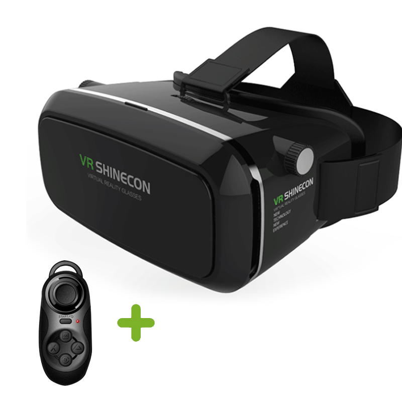 VR Shinecon 3D Virtual Reality <font><b>Movie</b></font> <font><b>Game</b></font> <font><b>Glasses</b></font> <font><b>Head</b></font> <font><b>Mount</b></font> <font><b>Google</b></font> Cardboard for 4.7 ~ 6 inch Smartphone+ Bluetooth Controller