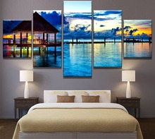 Framed 5 Piece Canvas Art Tropical Seaside Sunset Vacation Cuadros Paintings on Canvas Wall Art for Home Decorations Wall Decor seaside sunset sandbeach printed split unframed canvas paintings