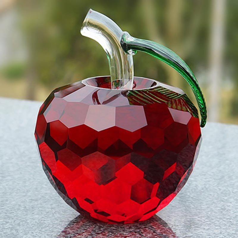 100mm Red Crystal Apple Paperweight Glass Crafts Fruit Gifts Home Decoration Arts&Collection Christmas Wedding Souvenir Gift
