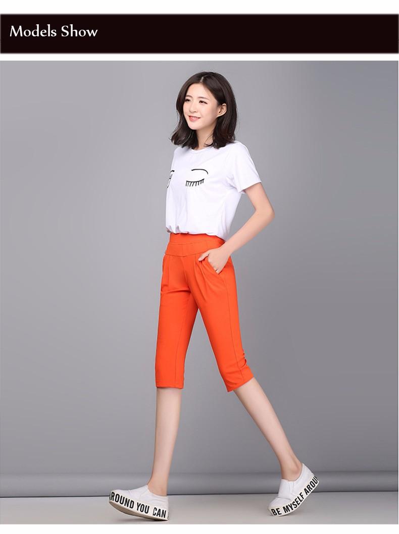 Plus Size S-4XL Harem Pants Women Solid Elastic Calf Length Summer Pants Casual High Waist Sport Pants Capris Trousers 2016 A313 f
