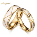 Meaeguet Wedding Ring Couples Matching Rings  Women's Men's Gold Color Love Matte Finish White Wedding Bands Rings