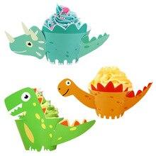 Omilut 12pcs Dinosaur Birthday Cake Wrapper Animals Decoration Baby Shower Boy Topper Supplies Kid