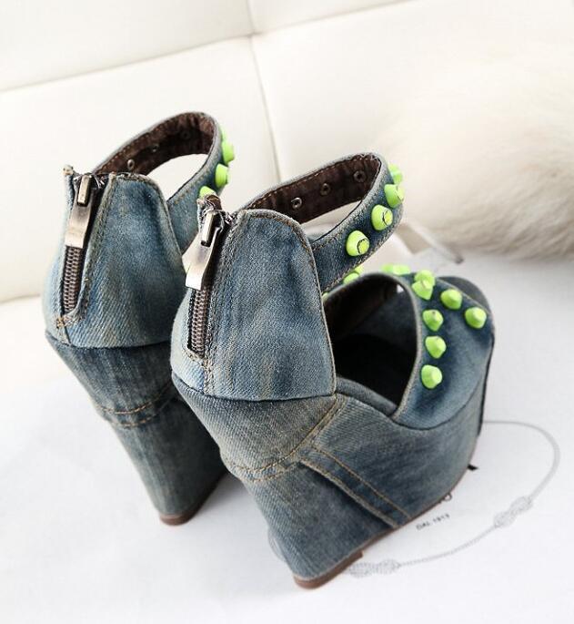Avec Sandales Lavage haute 2017 Étanche Chaussures Bleu Denim Nouveau pu Décoration Ultra En Coins Métal À ivoire clair Toile L'eau Ciel 1tPPqvxw5