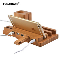 FULAIKATE Bamboo Wood Charging Stand for iPhone X Desk Holder for Smart Phone All Tablet PC Mobile Phone 4 USB Ports Dock