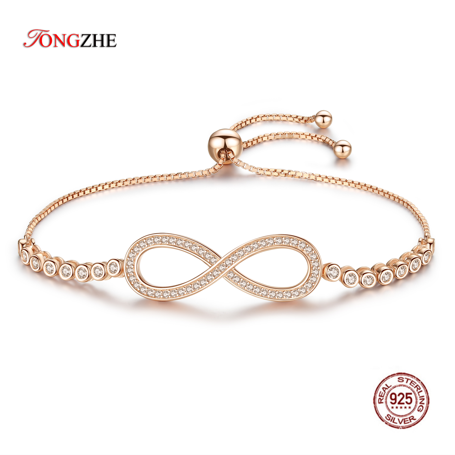 TONGZHE Endless Mens Bracelets 2018 Sterling Silver 925 CZ Rose Gold Charm Infinity Tennis Bracelets for Women Jewelry Pulsera buy mens string bracelets