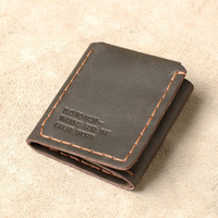 Crazy Horse Leather Vintage Men Wallet Genuine Handmade Fold Wallet Male New Design Short Retro Men's Purse