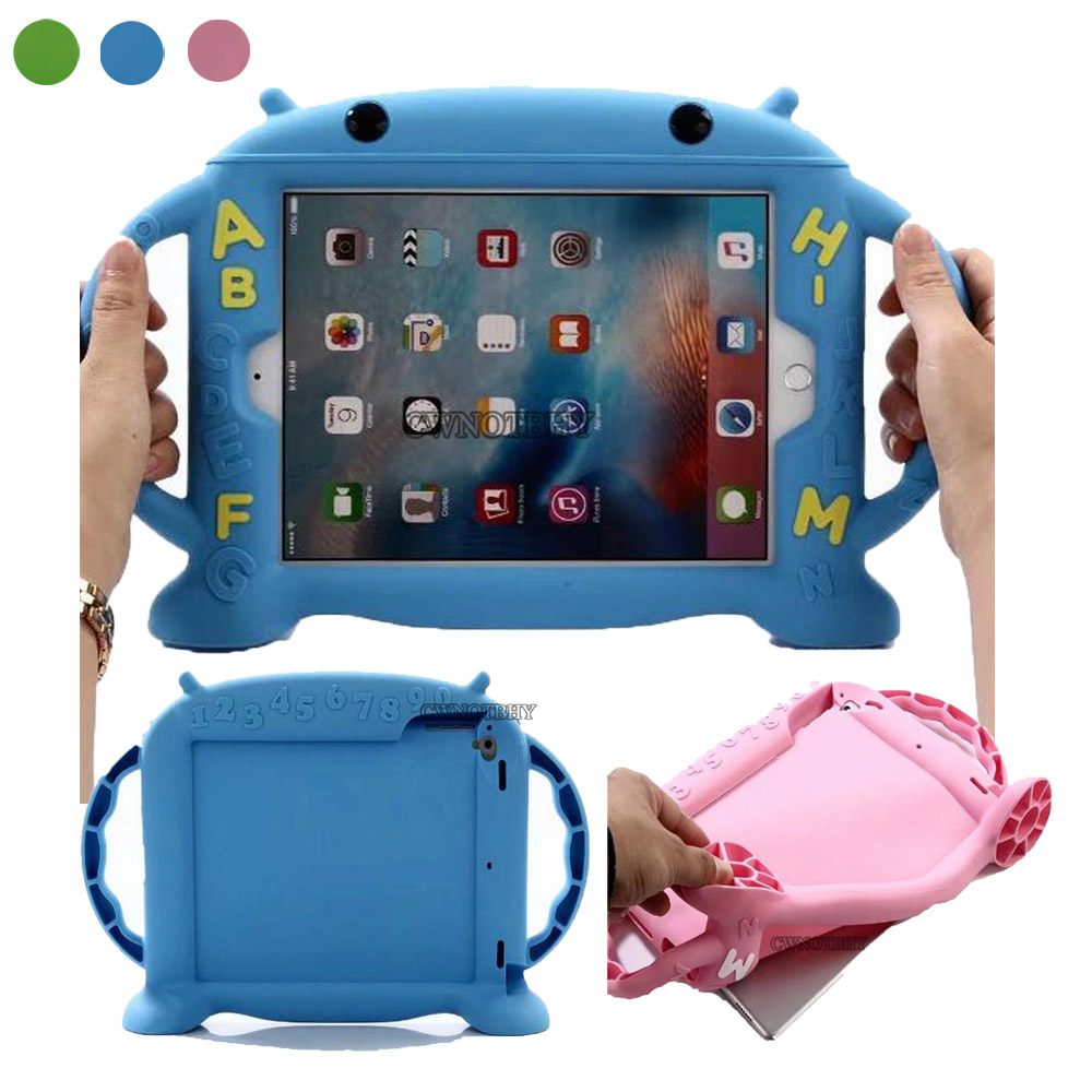 For iPad air 1/2 Kids Baby Safe Shockproof Cover Soft Silicone Case Cartoon Stand For iPad Pro 9.7 For New Ipad 9.7 2017 Cover