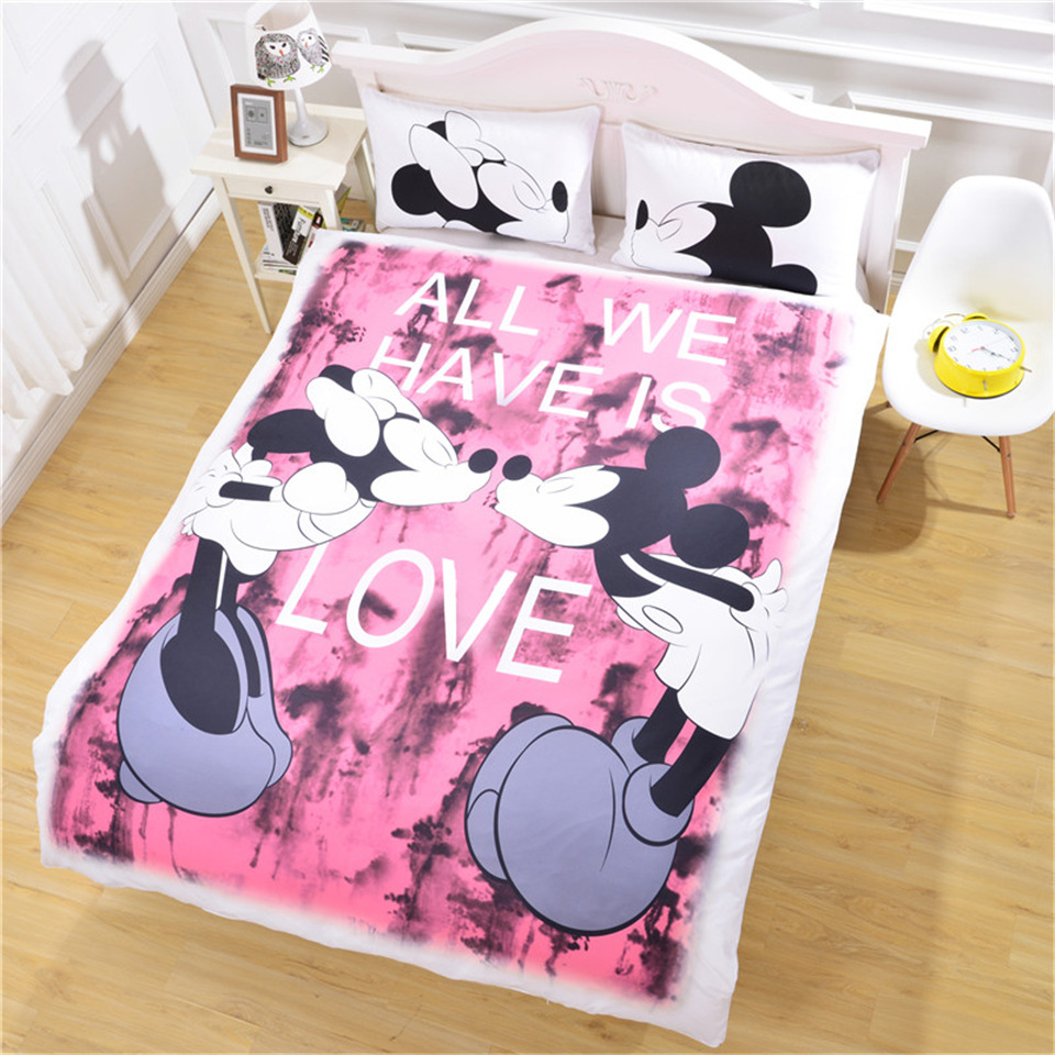 Duvet Cover European American cartoon cute black white mouse lovers 3pcs Family student dormitory Quilt cover pillowcaseDuvet Cover European American cartoon cute black white mouse lovers 3pcs Family student dormitory Quilt cover pillowcase