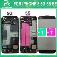 Новый Корпус Батарея крышка для IPhone 5 5G 5S SE Аккумулятор двери случае Ближний рамка Шасси задняя крышка + шлейф + принт IMEI