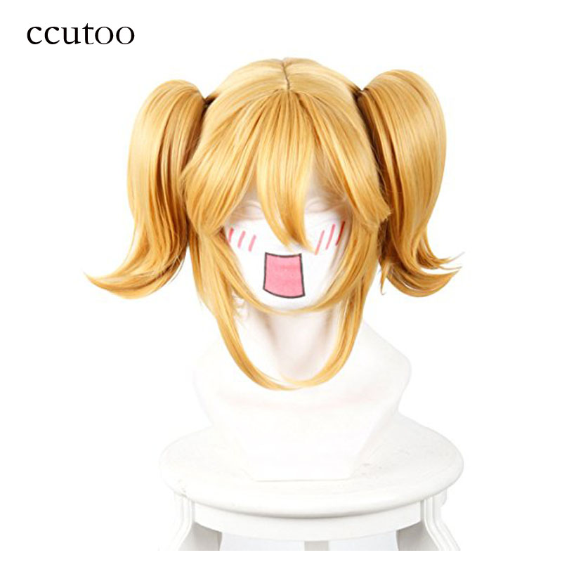 Ccutoo Restaurant to Another World Aletta 35cm Golden Yellow Corto Recto Sintético Peluca cosplay del pelo con la cola de caballo Chip