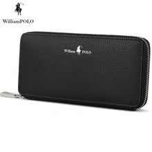WILLIAMPOLO 2017 Italian Leather Men Wallet Famous Brand Coin Purse Wallet For Phone And Cash European Style Wallet POLO121
