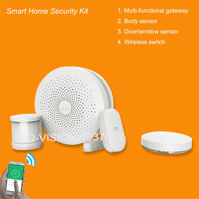 2016 Original Xiao Mi Smart Home Security Kit Body Sensor Gate-way Door Window Sensor Wireless Switch Device IOS7.0 Android 4.0