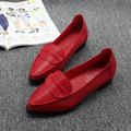 US5-9 Soft Leather Like Women Pointy Toe Slip On Loafers Ladies Casual Ballet Flat Shoes Comfort Work Flats