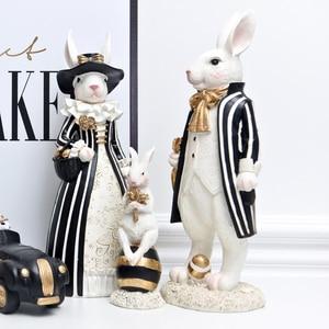 Image 1 - אמריקאי משפט כפרי אור יוקרה ארנב פסלוני מלאכת שחור זהב מתגעגע ארנב נורדי סגנון עיצוב הבית אבזרים