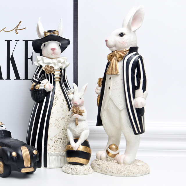 אמריקאי משפט כפרי אור יוקרה ארנב פסלוני מלאכת שחור זהב מתגעגע ארנב נורדי סגנון עיצוב הבית אבזרים