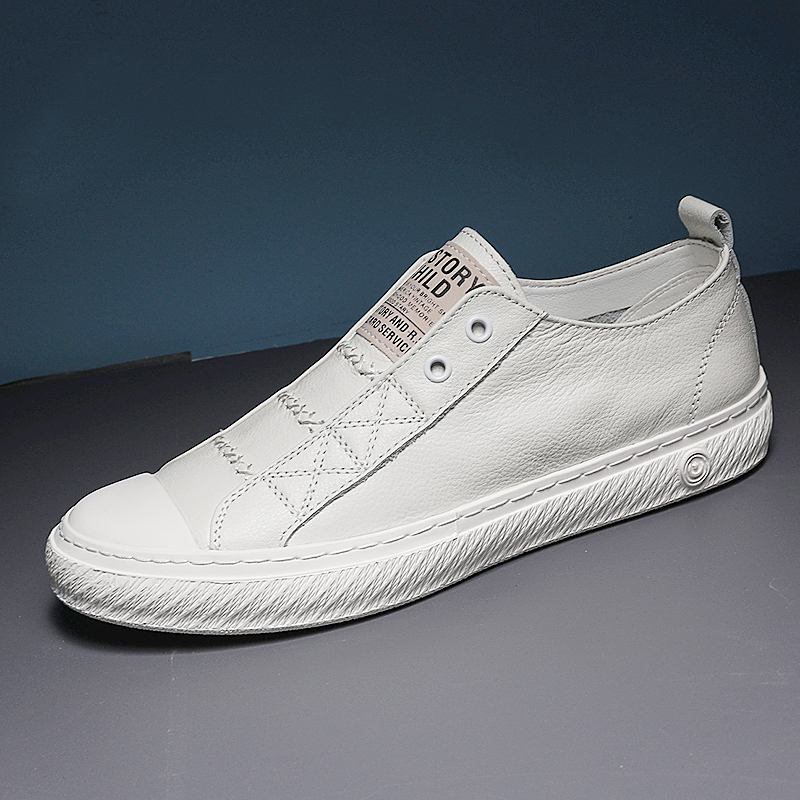 Genuine Leather Small White Shoes Men Sneakers Leather Fashion Casual Breathable Shoes Student  Trend Wild Flats C4