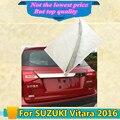 De coches de estilo cubierta del cuerpo de acero inoxidable puerta de la Placa de Matrícula Trasera lámpara de marco de puerta trasera del panel placa de montaje 1 unids para SUZUK1 Vitara 2016