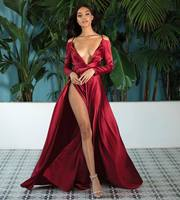 Long Sleeves V neck Split Dress Sexy 2019 Women Floor Length Party Dress Red Sky blue Satin Irregular Dress Vestidos de fiesta