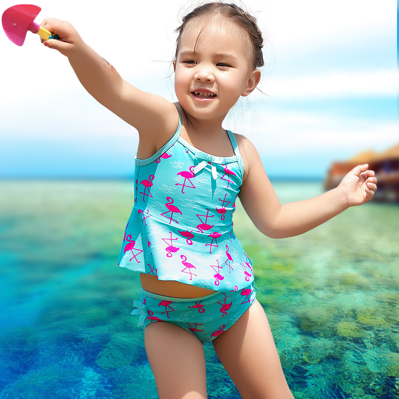 47b58624 xuanqi Baby Girls Lovely flamingo Print Swimwear Summer Beach Toddler  Bathing Suit Children Two Pieces Suits Kids Girl Swimsuit-in Children's Two- Piece ...