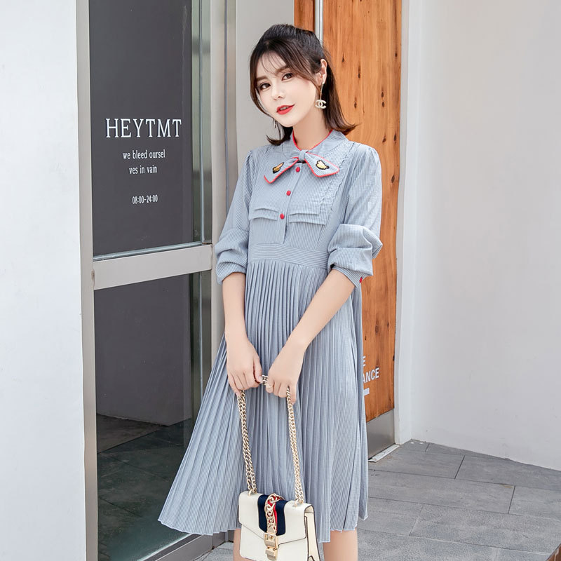 2018 Autumn Sweet Striped Pleated Nursing Maternity Dress Fashion Bottom Breastfeeding Pregnant Clothes for Pregnancy Women2018 Autumn Sweet Striped Pleated Nursing Maternity Dress Fashion Bottom Breastfeeding Pregnant Clothes for Pregnancy Women