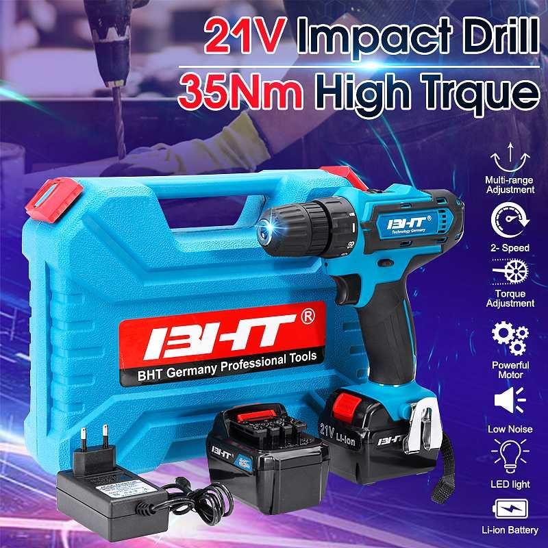 Le plus nouveau 21 V 2 vitesses moteur Brushless électrique marteau tournevis sans fil perceuse à percussion sans fil perceuse lumière LED Li batterie outils