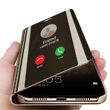Coque Original Leather Mirror Flip Phone Case For Samsung Galaxy s7 s6 Edge a8 a7 a6