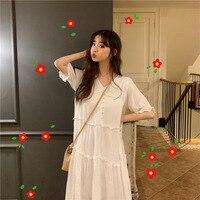 2019 Female Loose Long Strimming Cotton Long Dress White Women's Dress Japan Style Sweet Dress