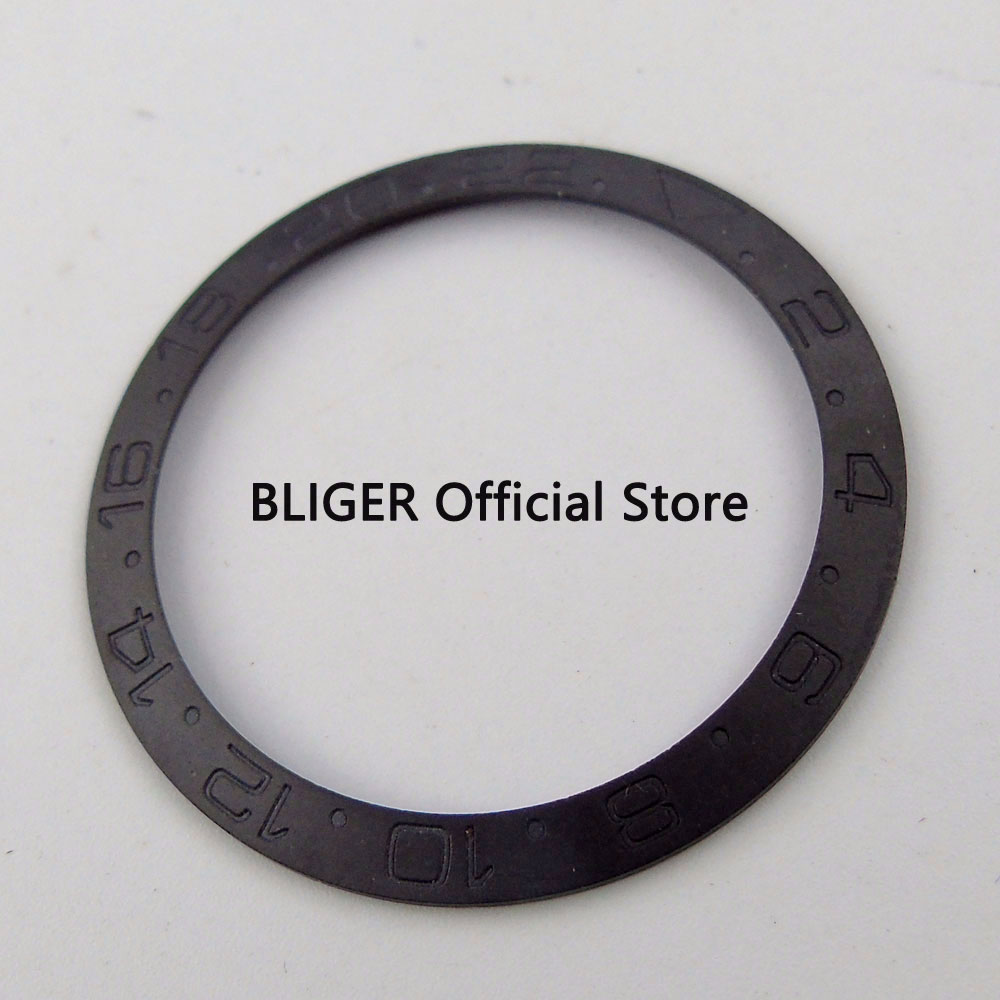 BLIGER 38MM Brushed Full Black Ceramic Bezel Insert Fit SUB Automatic Movement Mens Watch BB18