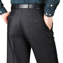 Осень Зима Шерсть И Шелк мужской Костюм Брюки Одного Плиссированные Моды толстые Брюки Мужские Классические Мужчины Платье Брюки Размер 42 44(China (Mainland))