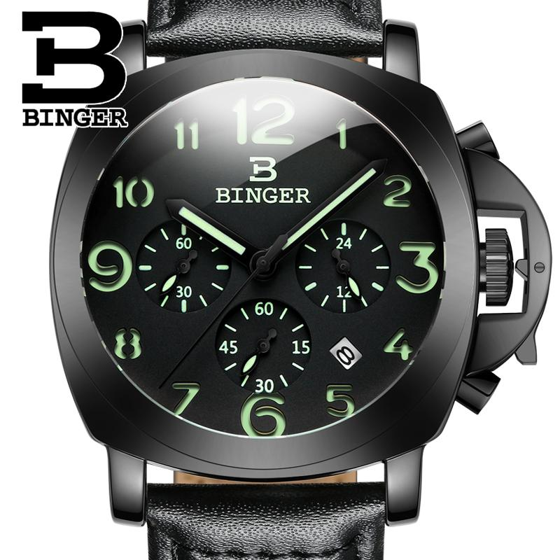 2017 Switzerland luxury  BINGER brand quartz relogio masculino multifunctional military Stop glowwatch Diver clock B9015-4 switzerland relogio masculino luxury brand wristwatches binger quartz full stainless steel chronograph diver clock bg 0407 3