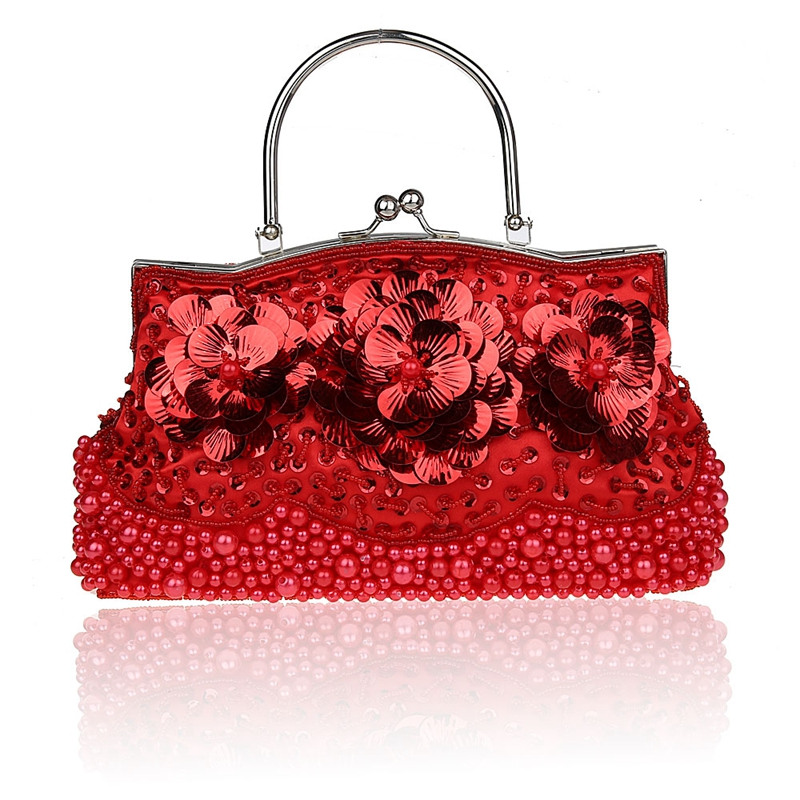 Red Ladies' Beaded Sequined Handbag Clutch Party Bridal Evening Bag with Shoulder Chain Purse Makeup Bag Free Shipping 1323-F