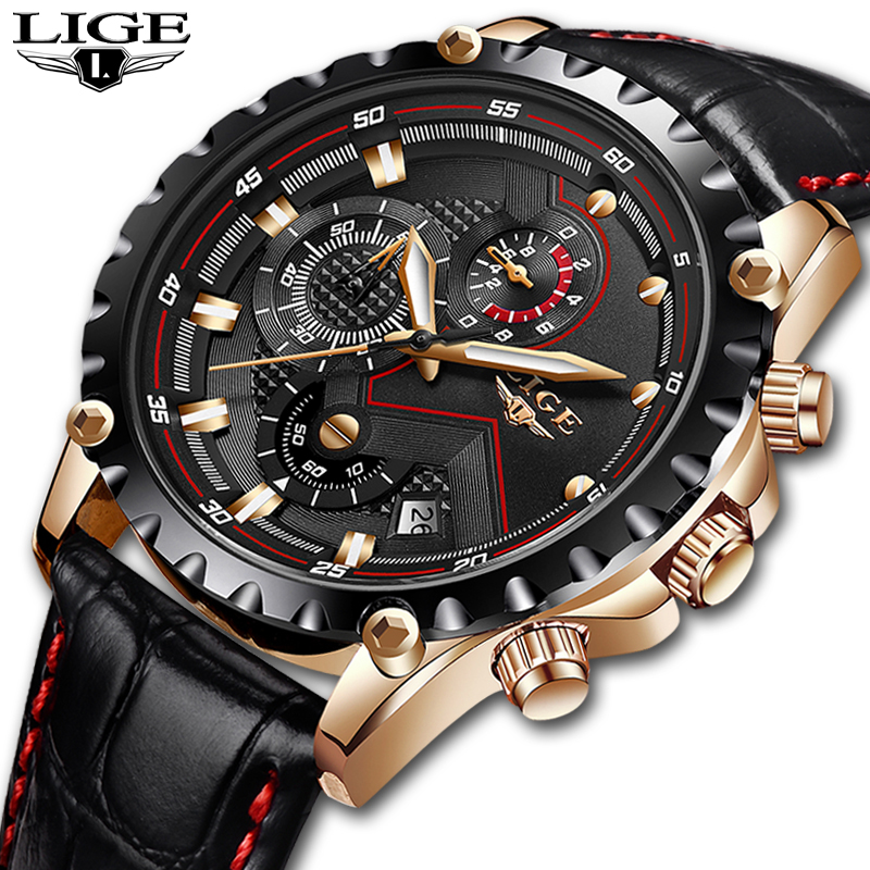 Relogio Masculino LIGE Mens Watches Top Brand Luxury Quartz Gold Watch Men Casual Leather Military Waterproof Sport Wrist Watch