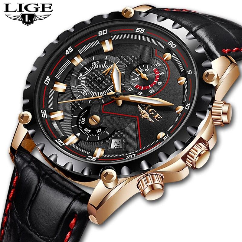 Relogio masculino Lige mens relojes Top marca de lujo reloj de oro de cuarzo hombres casual cuero Militar impermeable del reloj del deporte