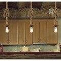 Ретро кантри Лофт стиль Эдисон винтажные промышленные подвесные светильники с пеньковой веревкой светильник подвесной светильник