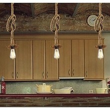 Retro Country Loft Style Edison Bulb Vintage Industrial Pendant Light Lamp with Hemp Rope цена 2017