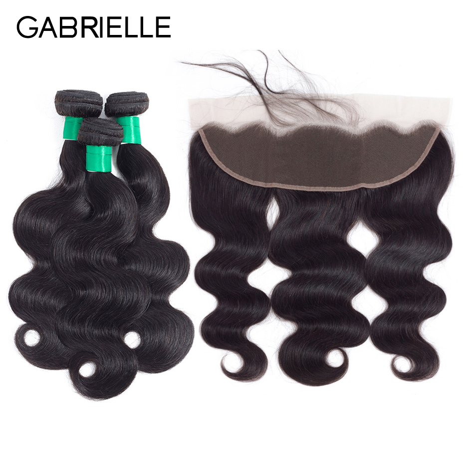 Gabrielle Malaysian Body Wave 3 Bundles with 13x4 Lace Frontal Free Middle Three Part Natural Color