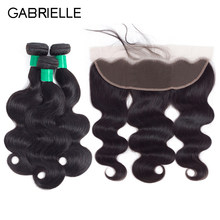 Gabrielle Malaysian Body Wave 3 Bundles with 13x4 Lace Frontal Free/Middle/Three Part Natural Color 8-28 inch Human Hair(China)