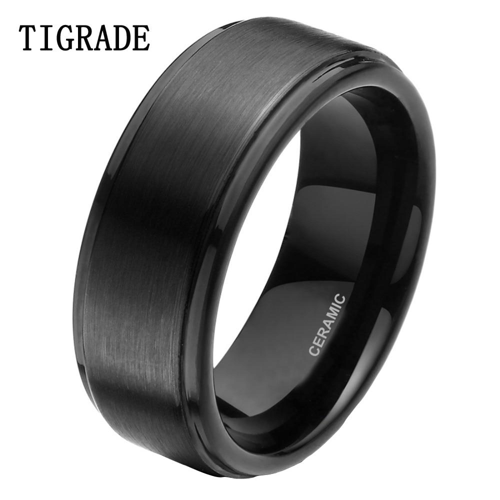 tigrade 8mm ceramic ring men wedding band engagement rings men jewelry bague ceramique maleanel masculino black