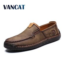 2019 New Fashion Style Leather Spring Casual Shoes Men Shoes Handmade Vintage Loafers Flats Hot Sale Moccasins Big Size 38 48