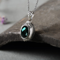 S925 silver jade box green crystal pendant can open Thai silver stone mosaic antique fashion female jewelry wholesale