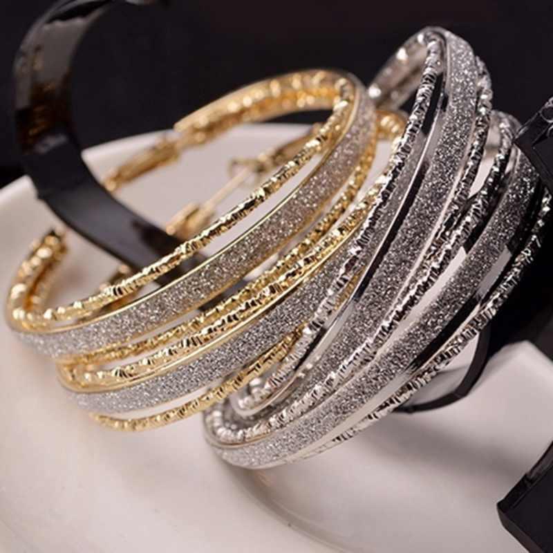 Bohemian double vòng bạc/ánh sáng vàng plated frosted lớn hoop bông tai trang sức cho phụ nữ đảng trang sức