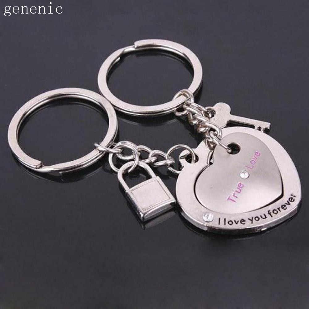 2 sztuk nowość Chaveir moda miłość serce brelok klucz para blokada w kształcie para kochanek brelok biżuteria kochanie prezent