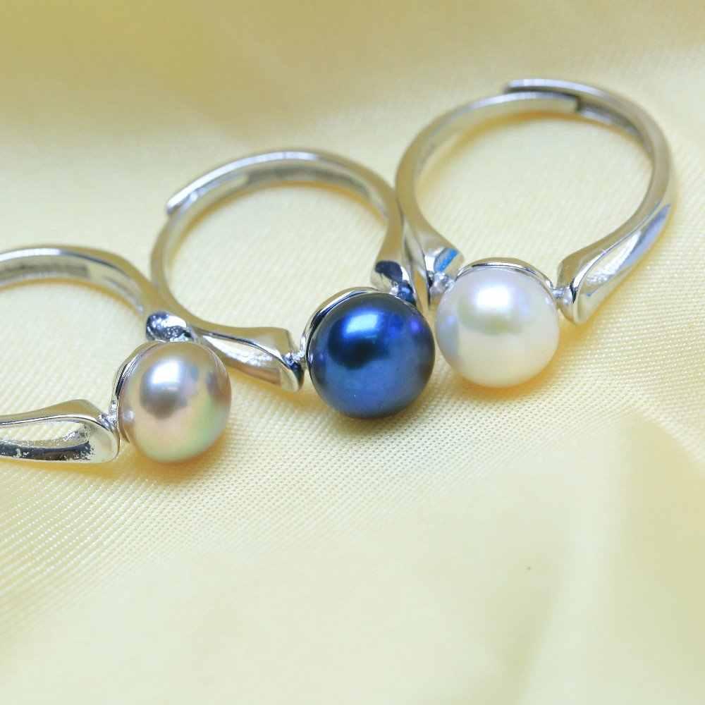 BaroqueOnly 2018 แฟชั่น Pearl เครื่องประดับแหวนเงินรูปไข่ไข่มุกน้ำจืดธรรมชาติแหวน 925 แหวนเงินสเตอร์ลิงสำหรับ WomenGift