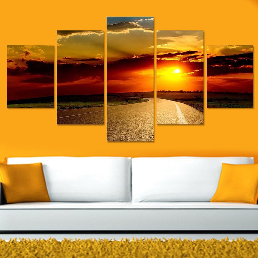 5 Panel Wall Art Canvas Prints Painting Road Sunset Landscape ...