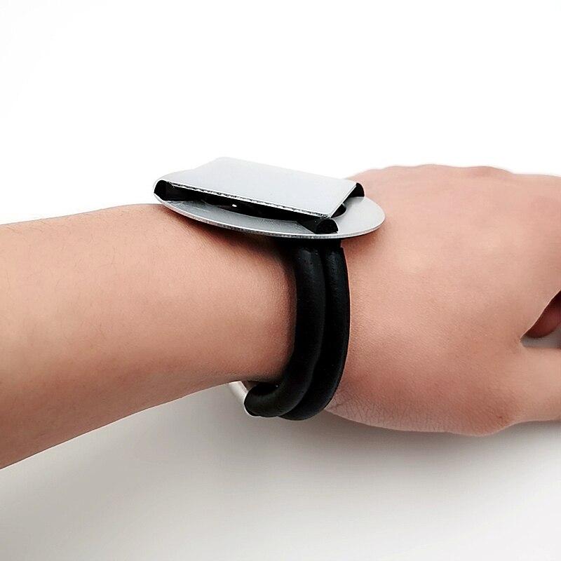 Купить с кэшбэком YD&YDBZ New Designer Hand Rubber Bracelet Aluminum Sheet Bracelets Jewelry Handmade Gothic Style Women Party Accessories Chains