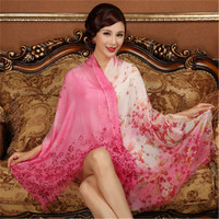 high grade 100%goat cashmere women classic printed thin scarfs shawl pashmina 70x200cm small tassel rose red 6color