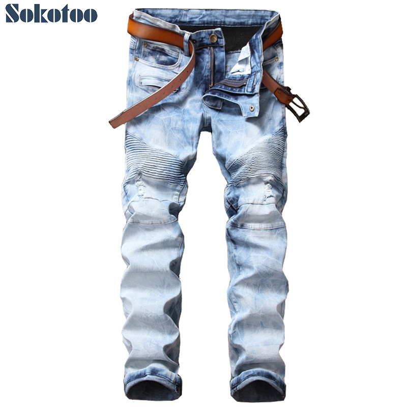 Sokotoo Mens light blue snow washed biker jeans for motorcycle Casual slim straight ripped denim pants